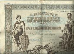 JUGOSLAVIJA  -  ACTION, SHARE,  OBLIGATION  --  ZANATSKA BANKA KRALJEVINE JUGOSLAVIJE  --  1931 - Hist. Wertpapiere - Nonvaleurs
