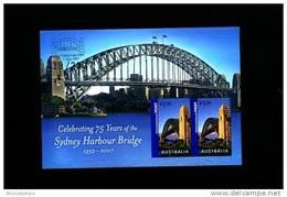 AUSTRALIA - 2007 SYDNEY HARBOUR BRIDGE MS OVPT SYDNEY STAMP EXPO IN SILVER MINT NH