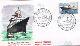 FRANCE FDC  N° 1325. Paquebot France .Obl GF Le Havre Voyage Inaugural 03 02 1962  1er Jour - FDC