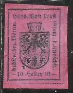 MERANO 1918 10H CARMINIO LILLA NUOVO SENZA GOMMA UNUSED NO GUM - Merano