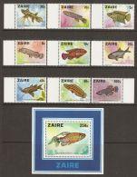 Zaire 1978 Mi# 548-556, Block 17 ** MNH - Fishes