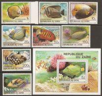 Zaire 1980 Mi# 664-671, Block 38 ** MNH - Tropical Fishes