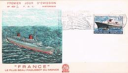 FRANCE FDC  N° 1325. Paquebot France .Obl PJ + Flamme  Le Havre Voyage Inaugural 03 02 1962  1er Jour - FDC