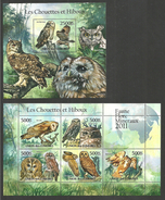 COMOROS 2011 BIRDS OWLS SET OF 2 M/SHEETS MNH