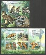 COMOROS 2011 BIRDS OWLS SET OF 2 M/SHEETS MNH - Comoros