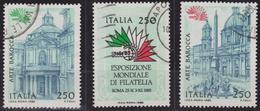 "ITALIA - Serie 3 Valori Usati - Esposizione Mondiale Filatelia ""Italia 85"". 4° Emissione - 30.3.1985"