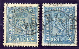 NORWAY 1867 Arms 4 Sk. In Both Shades Used. Michel 14a-b