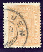 NORWAY 1867 Arms 2 Sk.  Used. Michel 12