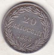 Vatican. Stato Pontificio , 20 BAIOCCHI 1838 B (BOLOGNA) Anno VIII , GREGORIO XVI - Vatican
