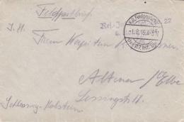 Feldpost WW1: Reserve Infanterie REgiment  22 P/m 1.8.1915 By 117. Infanterie Division -  Cover Only  (T8A18)