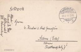 Feldpost WW1: Feldlazarett 6 P/m Preussisch-Eylau (now Called Bagrationovsk, Kaliningrad Oblast) 25.8.1914 - Plain Postc