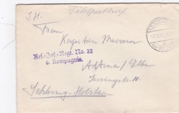 Feldpost WW1: Reserve Infanterie Regiment 22 P/m 3.11.1915 By 117. Infanterie Division - Cover Only  (T8A18)
