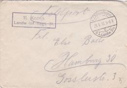 Feldpost WW1: 11. Kompanie, Landwehr Infanterie Regiment 31 P/m 29.1.1917 By 1. Landwehr Divisiov - Letter Inside Signed