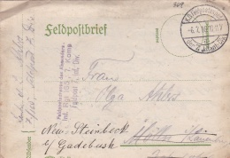 Feldpost WW1:  Infanterie Regiment 165, 7. Kompanie P/m  6.7.1916 By 7. Infanterie Division - Letter Inside. Rerouted (T