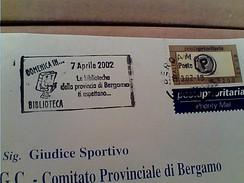 BUSTA 2002 TARGHETTA BERGAMO DOMENICA IN BIBLIOTECA  GA12635 - 2001-10: Poststempel