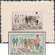 Centrafrique 1965 Y&T 43. Épreuve-photo, Timbre Définitif Modifié. Bœufs Comme Animaux De Trait Dans L'agriculture