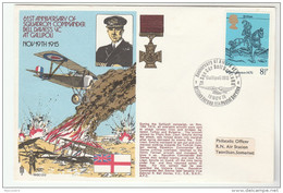 1976  SPECIAL   COVER Anniv WWI GALLIPOLI  Bell Davies VC  Aviation Gb Stamps