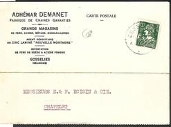 """1936 Perfin Perfo """" A.D """" ==>> Adhémar Demanet Fabrique De Chaines Garanties Métaux Gosselies - 1934-51"""