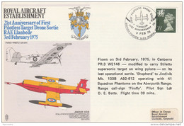 1975  Pilotless DRONE  FLIGHT COVER From RAF LLANBEDR  Aviation Gb Stamps - Airplanes