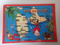 Guadeloupe. Carte Géographique. Costumes, Guitare, Fruits...
