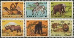 AJMAN 1969 ** MNH Animals Camel Elephant Zebra Bear Lion Rhino Full Set