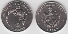 1985-MN-102 CUBA 1$ 1985. COCODRILE. LIZARD. FAUNA. UNC. CU-NI - Cuba