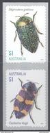 AUSTRALIA, 2016, MNH,INSECTS, BEETLES, 2v, SELF-ADHESIVE