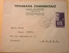 BUSTA INTESTATA VIAGGIATA PADOVA FIRENZE 1954 CON AFFRANCATURA 25 LIRE TELEVISIONE IN CASA DEL 1954