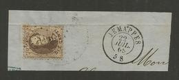 1863 - COB N° 14A - Dent. 12 1/2 X 13 1/2 - Sur Fragment - Oblitération 196  JEMAPPES - BEAU - Voir Description