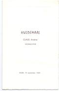 Menu - Egem 1969 - Huldemaal Claus Arsène - Veldwachter - Menus