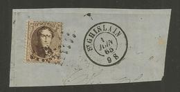 1863 - COB N° 14A - Dent. 12 1/2 X 13 1/2 - Sur Fragment - Oblitération 322 ST GHISLAIN - BEAU - Voir Description