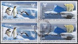 India 2009 Block 4  V Used   Penguins Polar Bear Preserve Polar Regions And Glaciers - Osos