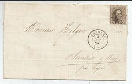 1863 - COB N° 14A - Dent. 12 1/2 X 13 1/2 - Sur Lettre - Oblitération 263  NAMECHE - TRES BEAU - Voir Description
