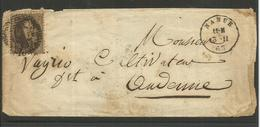 1863 - COB N° 14A - Dent. 12 1/2 X 13 1/2 - Sur Lettre - Oblitération P 85 NAMUR - BEAU - Voir Description
