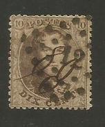 1863 - COB N° 14B - Dent. 14 1/2 X 14 1/2 - Oblitéré 12  ANVERS -  TRES BEAU - Voir Description
