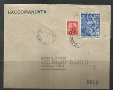 ITALIA REPUBBLICA ITALY REPUBLIC 1950 ANNO SANTO HOLY YEAR LIRE 55 USATO SU BUSTA RACCOMANDATA REGISTERED LETTER