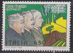 """ITALIA - Valore Usato Di 450 Lire - 40° Anniversario Del """"Patto Di Roma"""". G.Di Vittorio, B.Buozzi, A.Grandi - 30.4.1984"""