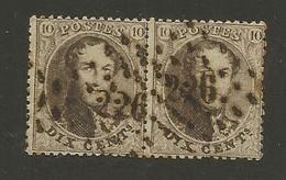 1863 - COB N° 14B - Dent. 14 1/2 X 14 1/2 - Paire - Oblitérée 226  LOUVAIN  -  Voir Description