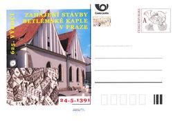 Czech Rep. / Postal Stat. (Pre2016/17) Start Of Construction Of The Bethlehem Chapel In Prague (1391), 625th Anniversary