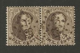 1863 - COB N° 14B - Dent. 14 1/2 X 14 1/2 - Paire - Oblitérée 63 BRUXELLES NORD -  Voir Description