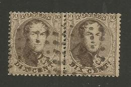 1863 - COB N° 14B - Dent. 14 1/2 X 14 1/2 - Paire - Oblitérée 12  ANVERS -  Voir Description
