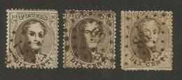 1863 - COB N° 14B - Dent. 14 1/2 X 14 1/2 - 3 Exemplaires Oblitérés - SECOND CHOIX