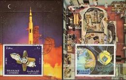 Apollo 16 Raketen-Start 1972 Shardscha Blocks 112+113 O 4€ Raumfahrt-Programm Satellit Blocs Ms Space Sheets Bf VAE