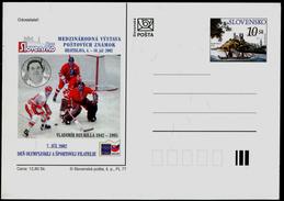 608 SLOVAKIA Postal Card-with Imprint Vladimir DZURILLA Goalie Hockey Legend Marks 2002 Internat. Exhibition FIRO