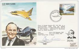 1982 SIGNED By AE Ben GUNN Test Pilot  BEAGLE BASSET CC1 FLIGHT COVER Biggin Hill Air Fair Gb Stamps Aviation