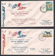 CONCORDE Premier Vol Commercial & Postal  PARIS-RIO DE JANEIRO   Escale De Dakar (aller Et Retour)