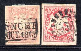 T148 - BAYERN 1867 ,  3 Kreutzer  Usato : Due Nuance