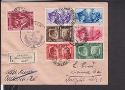 Einschreibbrief Italien Catania Nach Wien 1941 , Briefmarken Hitler Und Musolini