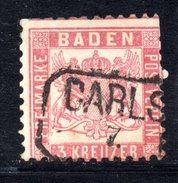T111 - BADEN 1862 ,  3 Kreutzer  Usato : Dentellatura Irregolare