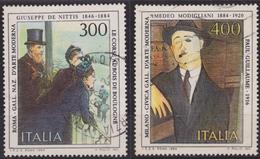 ITALIA - Serie 2 Valori Usati - Arte Italiana. 10° Emissione. Giuseppe De Nittis & Amedeo Modigliani - 25.1.1984